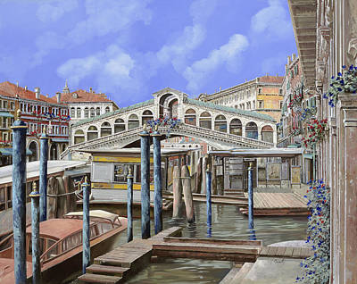 Works Progress Administration Posters Royalty Free Images - Rialto dal lato opposto Royalty-Free Image by Guido Borelli