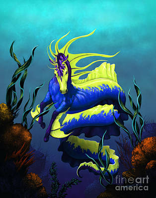Seahorse Digital Art - Ribbon Hippocampus by Stanley Morrison
