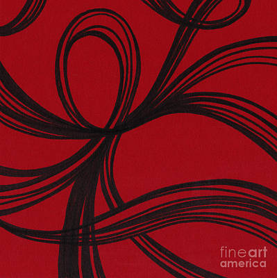 Red Line Drawing - Ribbon On Red by HD Connelly