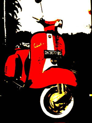 Rice Field Scooter In Ubud Art Print by Funkpix Photo Hunter