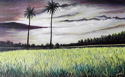 Rice Field  Art Print by Usha Rai