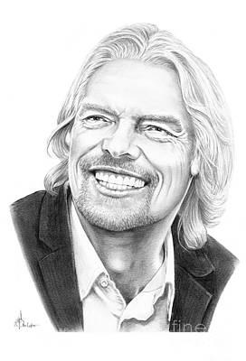 Famous People Drawing - Richard Branson by Murphy Elliott