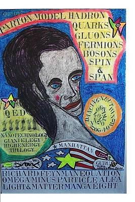 Feynman Pastel - Richard Feynman Equation Omega Minus Particle Alfa Light And Matter Manga Eight by Francesco Martin