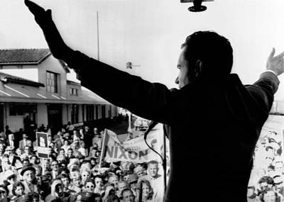 Richard Nixon Campaigning For Governor Art Print by Everett