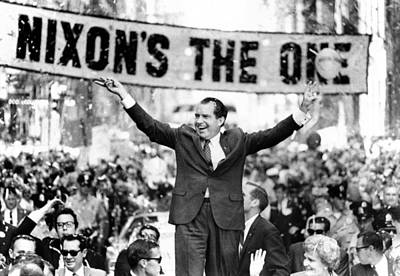 Richard Nixon, Delivering His The V Print by Everett