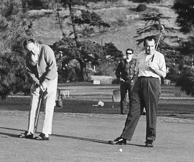 Richard Nixon Playing Golf Art Print by Everett
