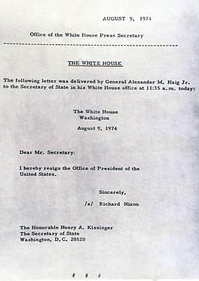 Richard Nixons Letter Of Resignation Art Print by Everett