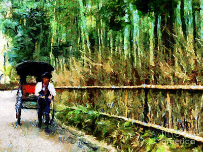 Bamboo Fence Digital Art - Rickshaw In A Bamboo Forest by Cathleen Cawood