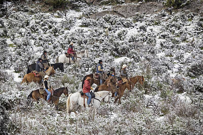 Photograph - Riders In The Snowy Sage by Judy Deist