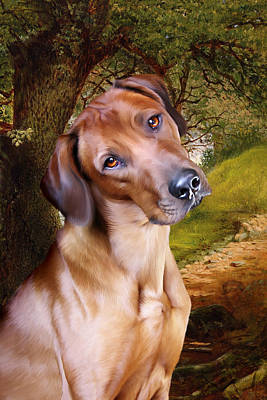 Rhodesian Ridgeback Digital Art - Ridgeback Woodland by Julie L Hoddinott