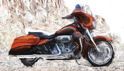 Riding In The Snow Art Print by Wayne Bonney