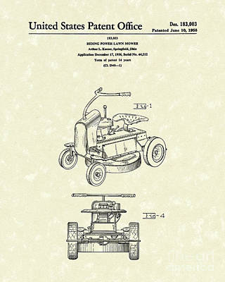 Riding Power Lawn Mower Patent Art  Art Print by Prior Art Design