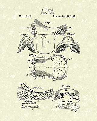 Saddle Drawing - Riding Saddle 1881 Patent Art by Prior Art Design