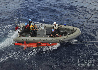 Inflatable Photograph - Rigid-hull Inflatable Boat Operators by Stocktrek Images