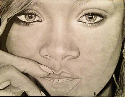 Drawing - Rihanna by Angelee Borrero