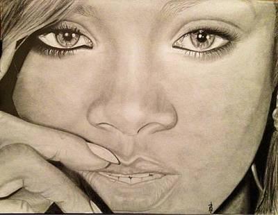 Drawing - Rihanna by Angelee Borrero