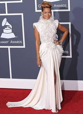 Staples Center Photograph - Rihanna Wearing An Elie Saab Haute by Everett