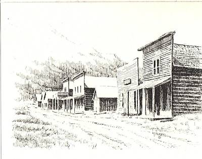 Abandoned Building Drawing - Rimini Ghost Town Montana by Kevin Heaney
