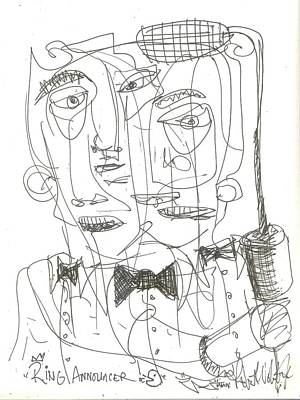 Contemporary Abstract Drawing - Ring Announcer by Robert Wolverton Jr