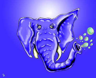 Cartoon Animals Drawing - Ringo Party Animal Blue by Adam Vance