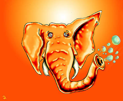 Cartoon Animals Drawing - Ringo Party Animal Orange by Adam Vance