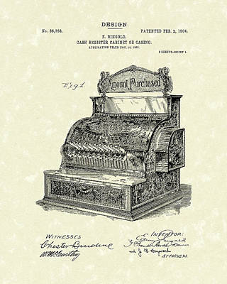 Cash Register Drawing - Ringold Cash Register 1904 Patent Art by Prior Art Design