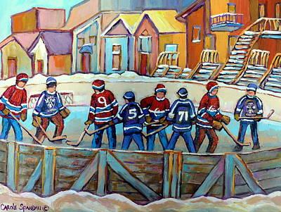 Kids Playing Hockey Painting - Rink Hockey Game-la Kings Vs Montreal-montreal Winter Scene Painting by Carole Spandau