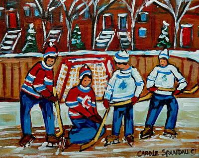 Red Hockey Sweaters Painting - Rink Hockey Montreal Street Scenes by Carole Spandau