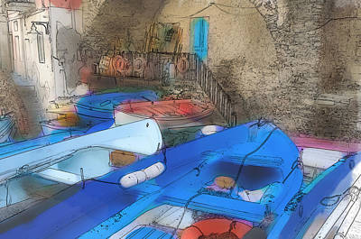 Digital Art - Riomaggiore Boats In Cinque Terre Italy by Brandon Bourdages