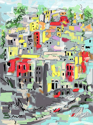 Digital Art - Riomaggiore Italy Moucasso Painting by Ginette Callaway
