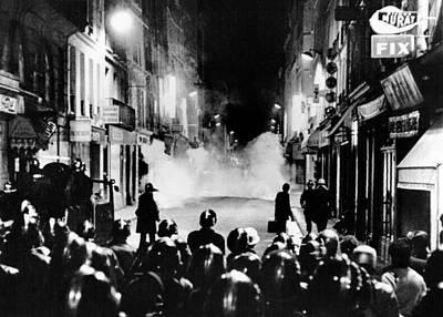 Riot Policemen At A Burning Barricade Art Print by Everett