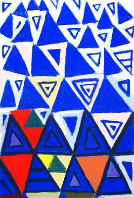 Rising Blue Triangles Art Print by Kazuya Akimoto