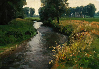 Nederland Painting - River Geul by Nop Briex