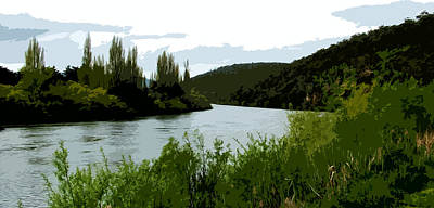 Boating Digital Art - River Landscape Scene by Phill Petrovic