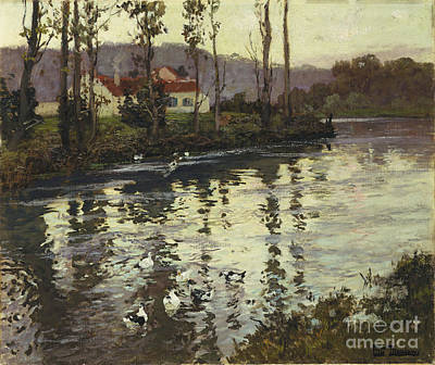 Ducks Painting - River Landscape With Ducks  by Fritz Thaulow