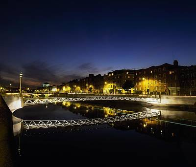 River Liffey, Millenium Footbridge At Art Print by The Irish Image Collection