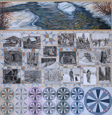 River Mural Winter Panel Bottom Half Art Print by Dawn Senior-Trask