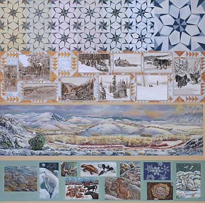 Painting - River Mural Winter Panel Top Half by Dawn Senior-Trask