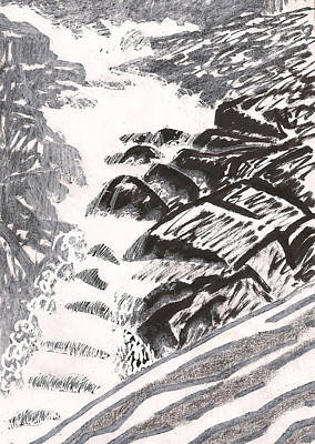 Thawing Time Drawing - River Road Spring Roar Monterey Ma by Al Goldfarb