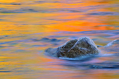 Photograph - River Rock And Autumn Reflections - Swift River Nh by Expressive Landscapes Fine Art Photography by Thom