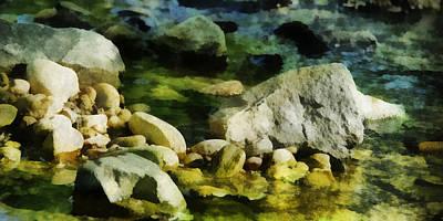 Digital Art - River Rocks 3 by Francesa Miller
