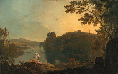 River Scene- Bathers And Cattle Art Print by Richard Wilson