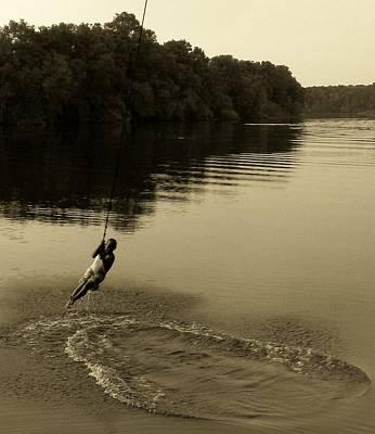 Child Swinging Digital Art - River Swing Fun by Sheri McLeroy