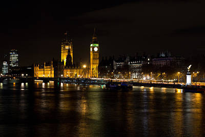 Outerspace Patenets Rights Managed Images - River Thames and Westminster Night view Royalty-Free Image by David Pyatt