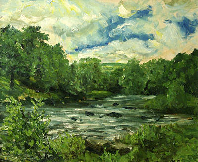 River Usk At Crickhowell Art Print by Mike Burns