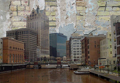 Digital Art - River View And Brick by Anita Burgermeister