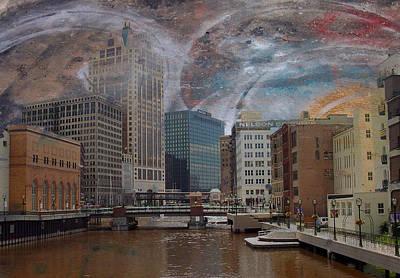 Digital Art - River View And Graffiti by Anita Burgermeister