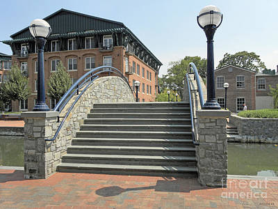 River Walk Bridge In Frederick Maryland Art Print by J Jaiam