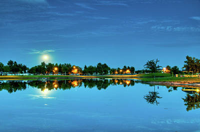 Photograph - River Walk Park Full Moon Reflection 1 by Connie Cooper-Edwards