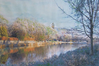 Painting - River Walk Reflections Peebles by Richard James Digance